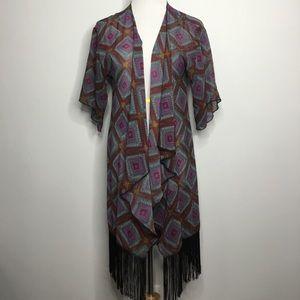 Oversized Chiffon Fringe Kimono